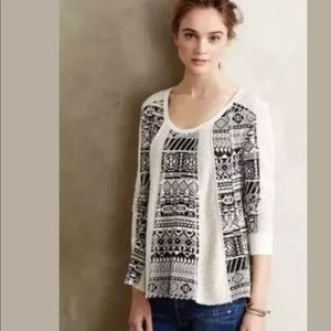 Lilka Anthropologie shirt black and white textured